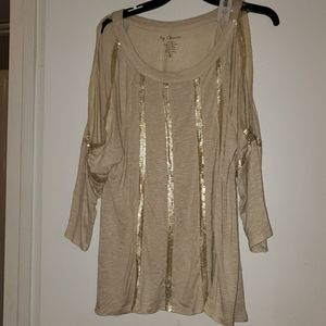 Sequin cold shoulder 3/4 sleeve chicos size 2
